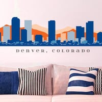 "NFL DENVER BRONCOS Skyline Wall Decal Colorado Art Vinyl Peel n Stick up to 70"" x 18"" College Dorm Office Business Decor City"