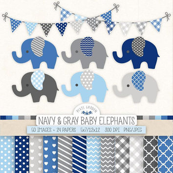Navy & Gray Elephant Clip Art. Boy Baby Shower Digital Paper, Banner in Navy, Blue, Grey. Nursery  Decor, Chevron, Polka Dot, Stripe Pattern