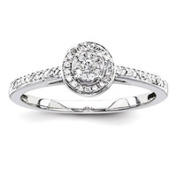 14K White Gold Multi-Stone Diamond Engagement Ring