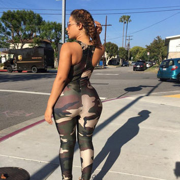 Track Back Army Jumpsuits in Green or Black