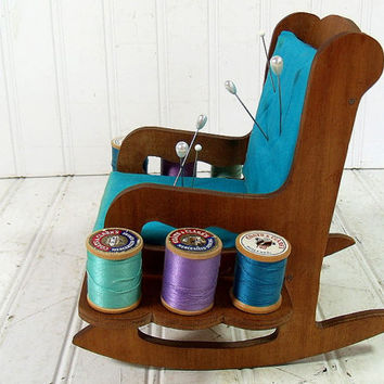 Vintage HandMade Wooden Turquoise Padded Rocking Chair - Primitive Doll Display Size - Shabby Chic BoHo PinCushion with Set of 6 Threads