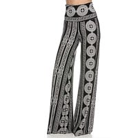 High Waist Foldover Boho Palazzo Pants (Black White Medallion)
