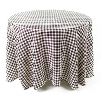 2 Round Tablecloths - Black And Cream Checkered