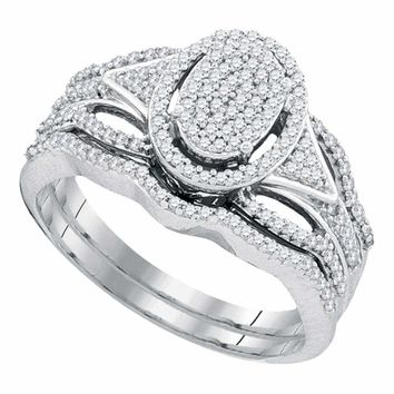 10kt White Gold Women's Round Diamond Oval Cluster Bridal Wedding Engagement Ring Band Set 3/8 Cttw - FREE Shipping (US/CAN)
