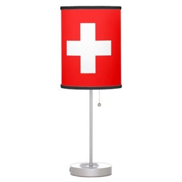 Patriotic table lamp with Flag of Switzerland
