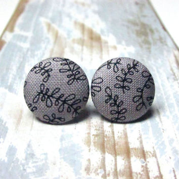 Gray earrings - fabric button earrings - stud earrings - tiny black flowers - surgical steel studs - ohrringe ohrstecker floral - pin up