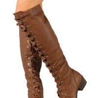 Military Lace Up Over the Knee High Boots Vegan Leather Tan