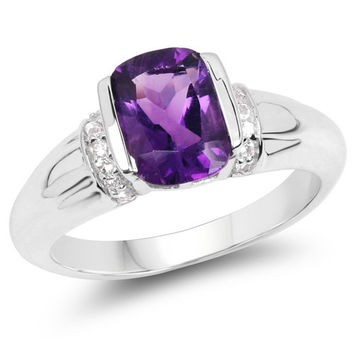 1.87 Carat Genuine Amethyst & White Topaz .925 Sterling Silver Ring