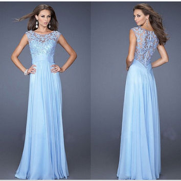 A Line Bateau Sleeveless Beading Applique Floor-Length Long Lace Prom Dresses Custom Made Evening Dresses Party Gown