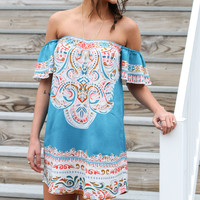 Paint The Sky Turquoise Off The Shoulder Print Mini