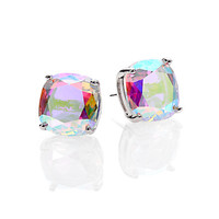 Iridescent Faceted Square Stud Earrings