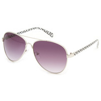 Full Tilt Grand Hudson Aviator Sunglasses Black/White One Size For Women 23131112501