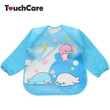 Cute Cartoon Colorful Baby Bibs Long Sleeve Art Apron Animal Smock Children Bib Burp Clothes Soft Feeding Eat Waterproof