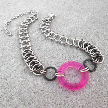 Chainmaille Jewelry, Chainmaille Choker, Stainless Steel Necklace, Chunky Chain Necklace, Chain Choker, Pink Choker, Fuchsia Necklace