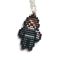 Winter Soldier Necklace Chibi Handmade Handbeaded Jewelry 8bit jewelry The Avengers