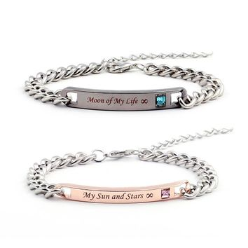 """Game of Thrones Bracelets """"Moon of My Life"""" """" My Sun and Stars"""" Couple Bracelets Crytal Stone Lover Bracelets For Women Men"""