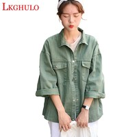 Sweet 3 Color Denim Jacket  Women Casual Long Sleeve Coat Fall 2018 New Fashion Button Up Pockets Lapel Jacket Plus Size A436