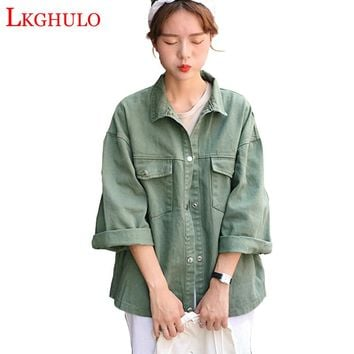 226b7f872d Sweet 3 Color Denim Jacket Women Casual Long Sleeve Coat Fall 2018 New  Fashion Button Up