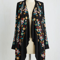 Boho Mid-length Long Sleeve Fleur and Simple Cardigan