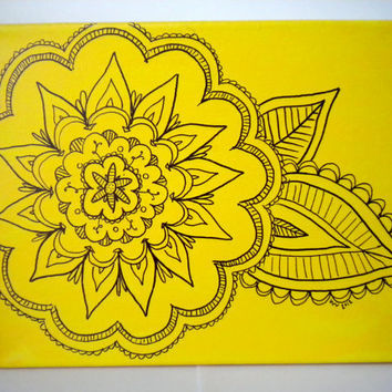 Yellow Flower Drawing on Canvas by WhitSpeaks on Etsy