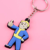 Officially Licensed Fallout 4 Vault Boy Figure Rubber Key Ring Keychain