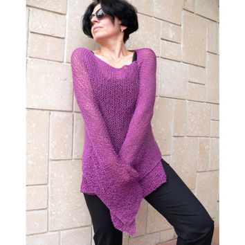 Woman Hand Knit Crochet Oversize Sweater Shawl Poncho Top Cape Plus Size Wraps Cape Pink Merlo Purple Winter Top Christmas Gift For MOM