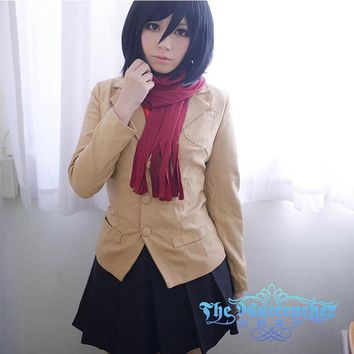 Cool Attack on Titan Japan Cartoon  Cosplay Costumes Anime Mikasa Ackerman Cos Clothes Female Suit Japanese School Uniform for Girls AT_90_11