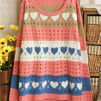 Sweet Heart Loose Fitting Dot Hollow Out Shirts
