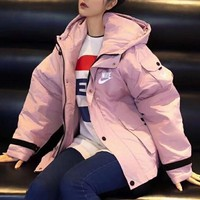 """""""Nike"""" Women Casual  Retro Logo Long Sleeve Tooling Hoodie Cotton-padded Clothes Coat"""