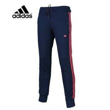 """Adidas"" Women Letter Print Stripe Casual Knit Long Pants Small Foot Sweatpants"