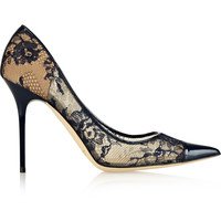 Jimmy Choo - Amika leather-trimmed lace pumps