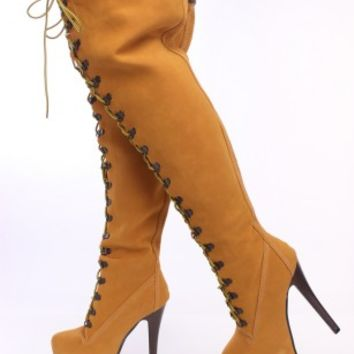 Camel Lace Up Thigh High Boots Nubuck Faux Leather
