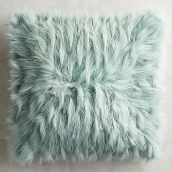 Mineral Blue Faux Fur Eyelash Oversized Pillow