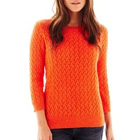 jcp™ Marled 3/4-Sleeve Crewneck Sweater