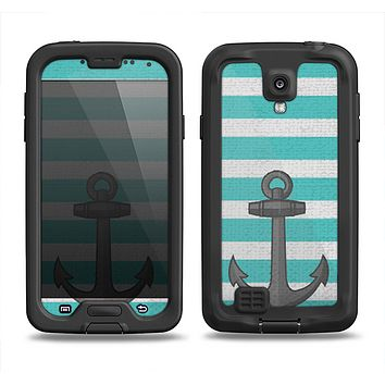 The Teal Stripes with Gray Nautical Anchor Samsung Galaxy S4 LifeProof Fre Case Skin Set