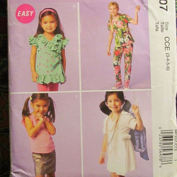 SALE Uncut McCall's Sewing pattern, 307! 3-4-5-6 Girls/Kids/Children's Dress up Clothes/Dresses/Skirts/Robes/Wrap Tops/Summer/Spring/Fall