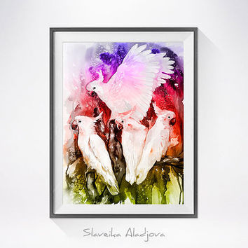 Cockatoo parrot watercolor, parrot art, bird art, painting print, bird watercolor, parrot, macaw, bird illustration, parrot watercolor