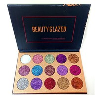 Beauty Glazed Eyeshadow Palette Ultra Pigmented Mineral Pressed Glitter Make Up Eye Shadow Powder Flash Colors 15 Colors