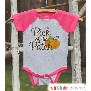 Pick of the Patch - Kids Pumpkin Patch Outfit - Girls Pumpkin Shirt - Pink Raglan Tshirt or Onepiece - Kids Toddler Halloween Pumpkin Shirt
