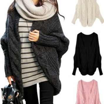 Stylish Women Knitted Batwing Open Front Loose Sweater Jacket Wrap Cape Cardigan Pink