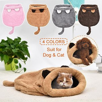 Soft Warm Cat Sleeping Bag Bed Mat With Cushion - 4 Colors
