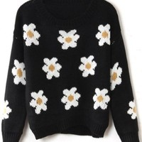 Sheinside Black Long Sleeve Sunflower Pattern Knit Sweater (One-Size, Black)