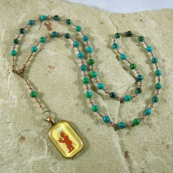 Bes Prayer Bead Necklace in Chrysocolla: Egyptian God of House and Home, Protector of the Family