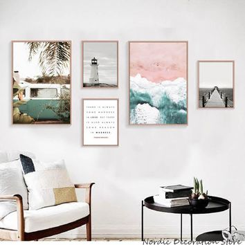 Nordic Poster Beach Posters And Prints Landscape Wall Art Canvas Painting Tower Wall Pictures For Living Room affiche Unframed