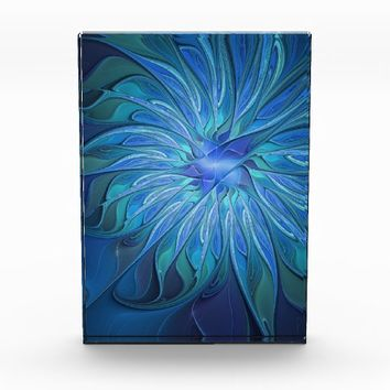 Blue Flower Fantasy Pattern, Abstract Fractal Art Acrylic Award