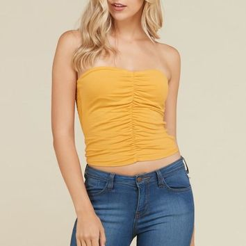 Front Ruched Tube Top in Sun Baked