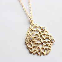 "Long Gold Necklace - Gold Reef Necklace with CZ Accents on 24"" Matte Gold Chain Necklace"