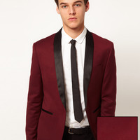 ASOS | ASOS Skinny Fit Tuxedo Suit Jacket in Burgundy Polywool at ASOS