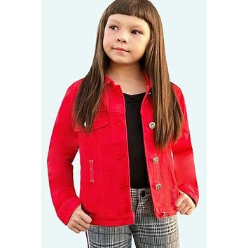Fall Back To School Girls Basic Wash Denim Jacket Red