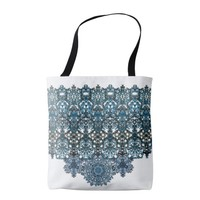 romantic turquoise ornament arabesque tote bag
